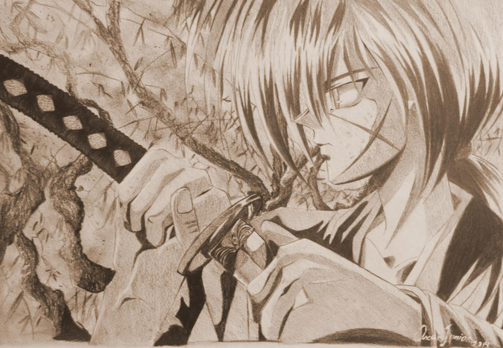 how to draw kenshin himura