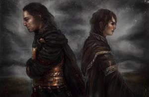 KOTOR Revan, Exile, field and somber sky. by Faietiya