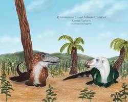 Tyrannosaurus and Edmontosaurus by IllustratedMenagerie