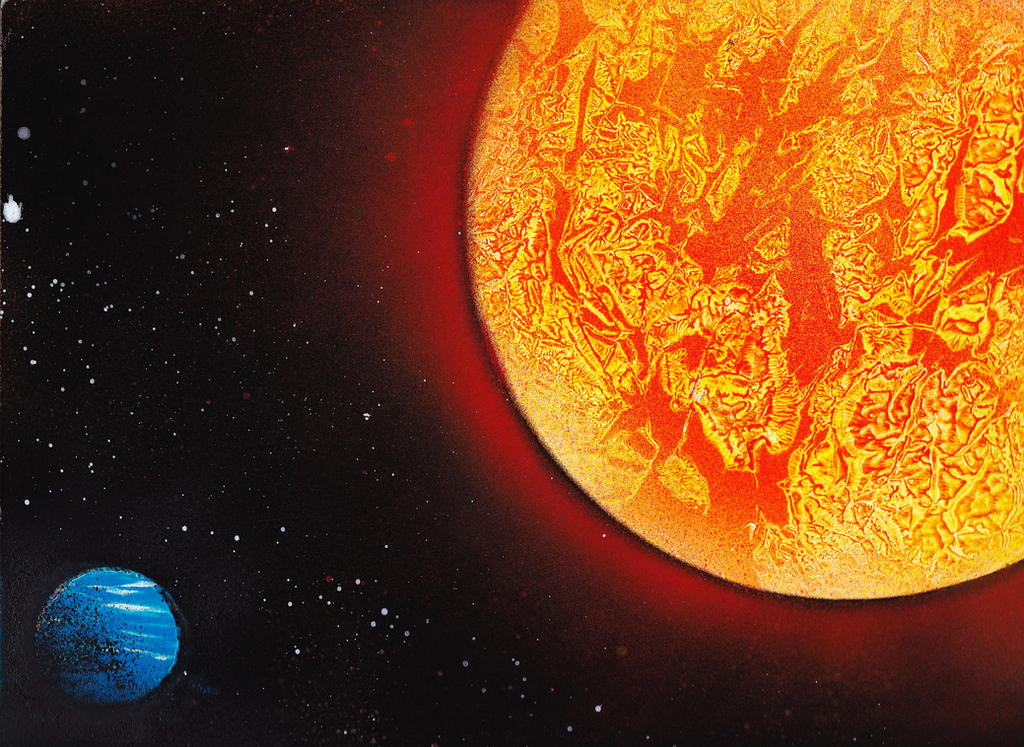 Spray paint art sun and earth by tibigrecu on deviantart for How to spray paint art on canvas
