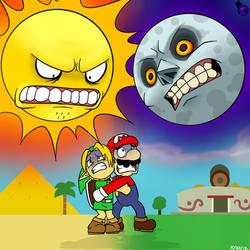 Scary Sun And Moon by HeartStringsXIII