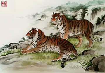 Ink Tigers by toedeledoki