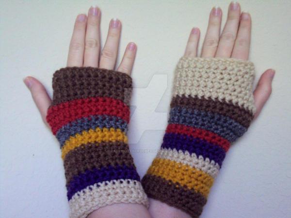 Crochet Doctor Who Tom Baker Scarf Gloves By Craftykittycrochet On