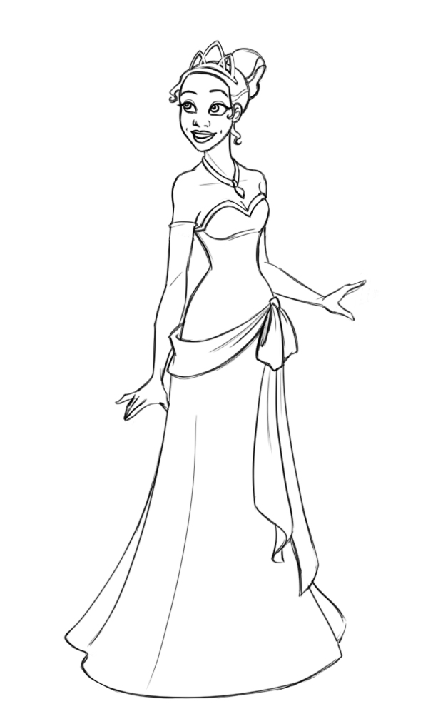 Miss tiana bw by kuabci on deviantart for Tiana coloring pages