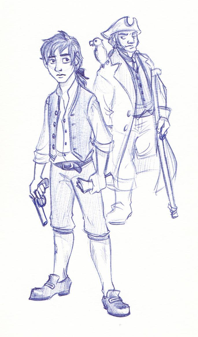 Disney Un-Disneyed: Jim Hawkins and Captain Silver by kuabci