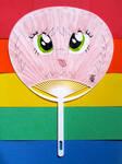 Pink Fluffy Uchiwa Dancing on Rainbows by JazzyTyfighter