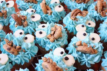 Cookiemonster cupcakes by jolieke10