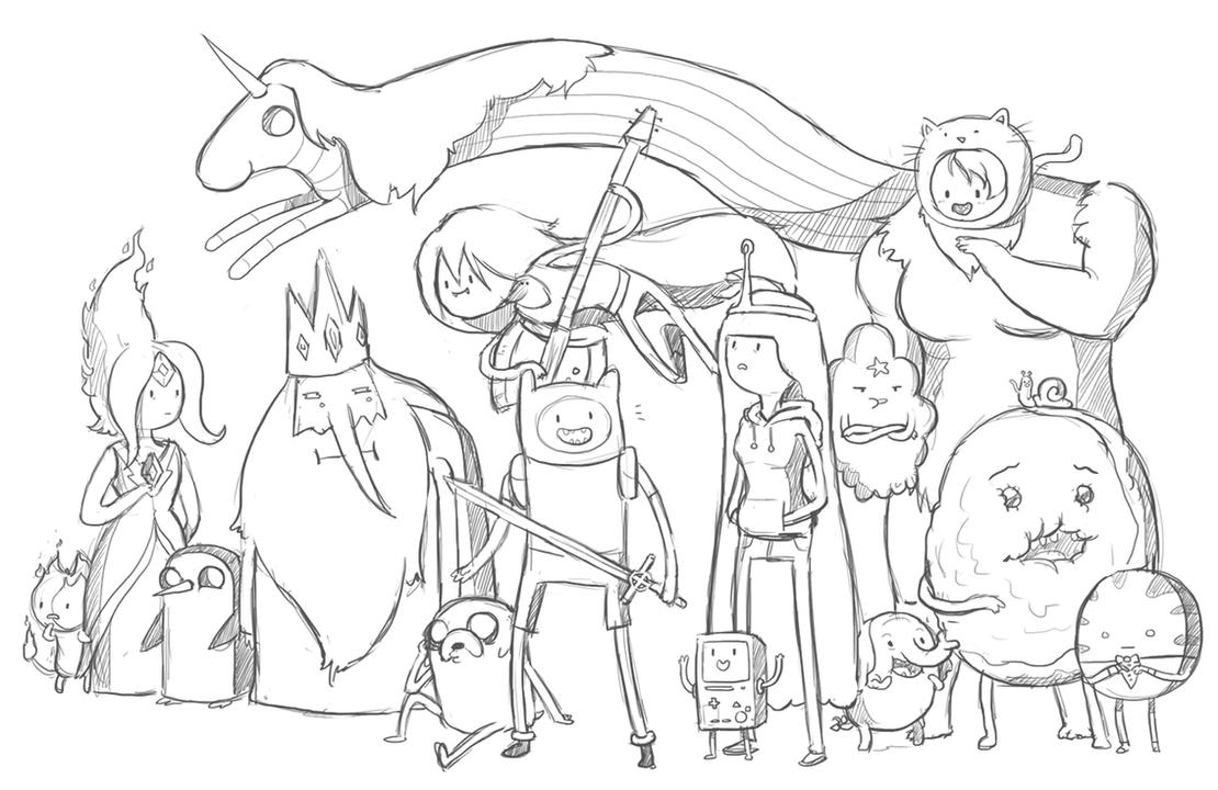 Adventure time doodle by causeimdanjones on deviantart for Adventure time coloring page