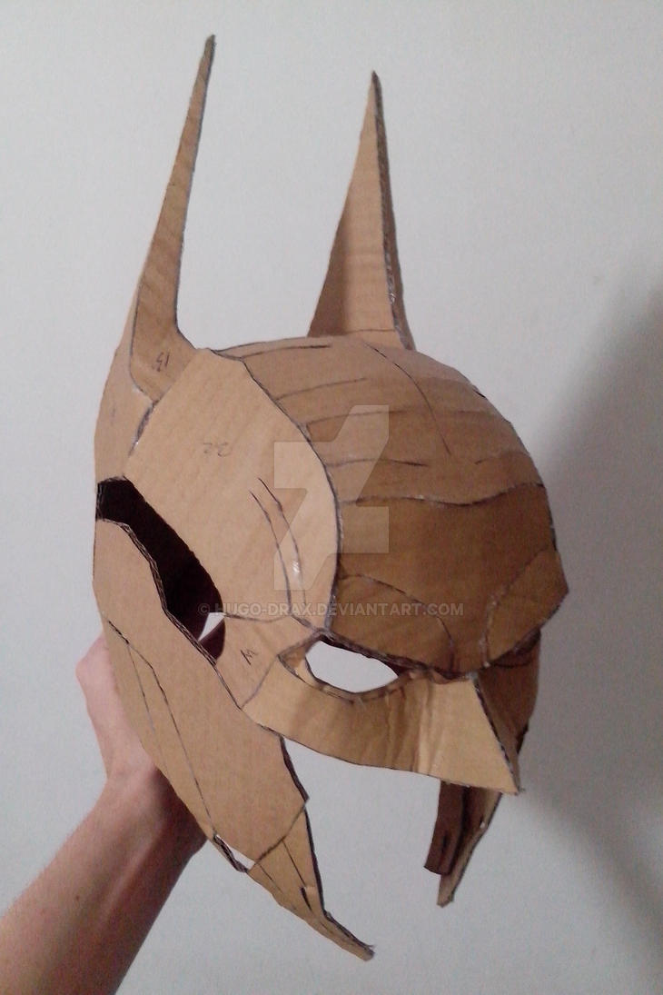Arkham knight papercraft helmet by hugo drax on deviantart for Cardboard armour template