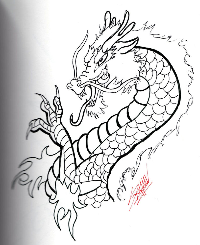 chinese dragon drawing easy - photo #18