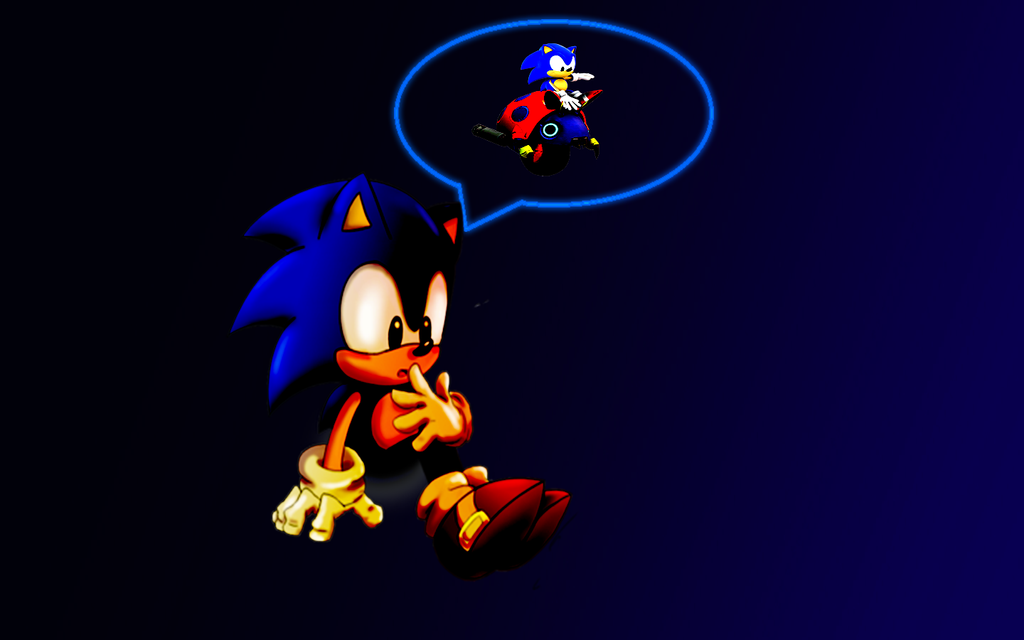 Sonic Classic Thoughtful Wallpaper HD By Vertrax 08