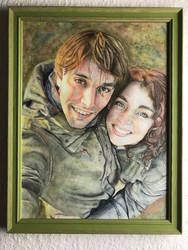 Watercolour painting of my boyfriend and me
