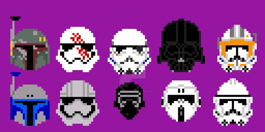 Star Wars Pixel Art Iconic Helmets By Danrussell93 On Deviantart