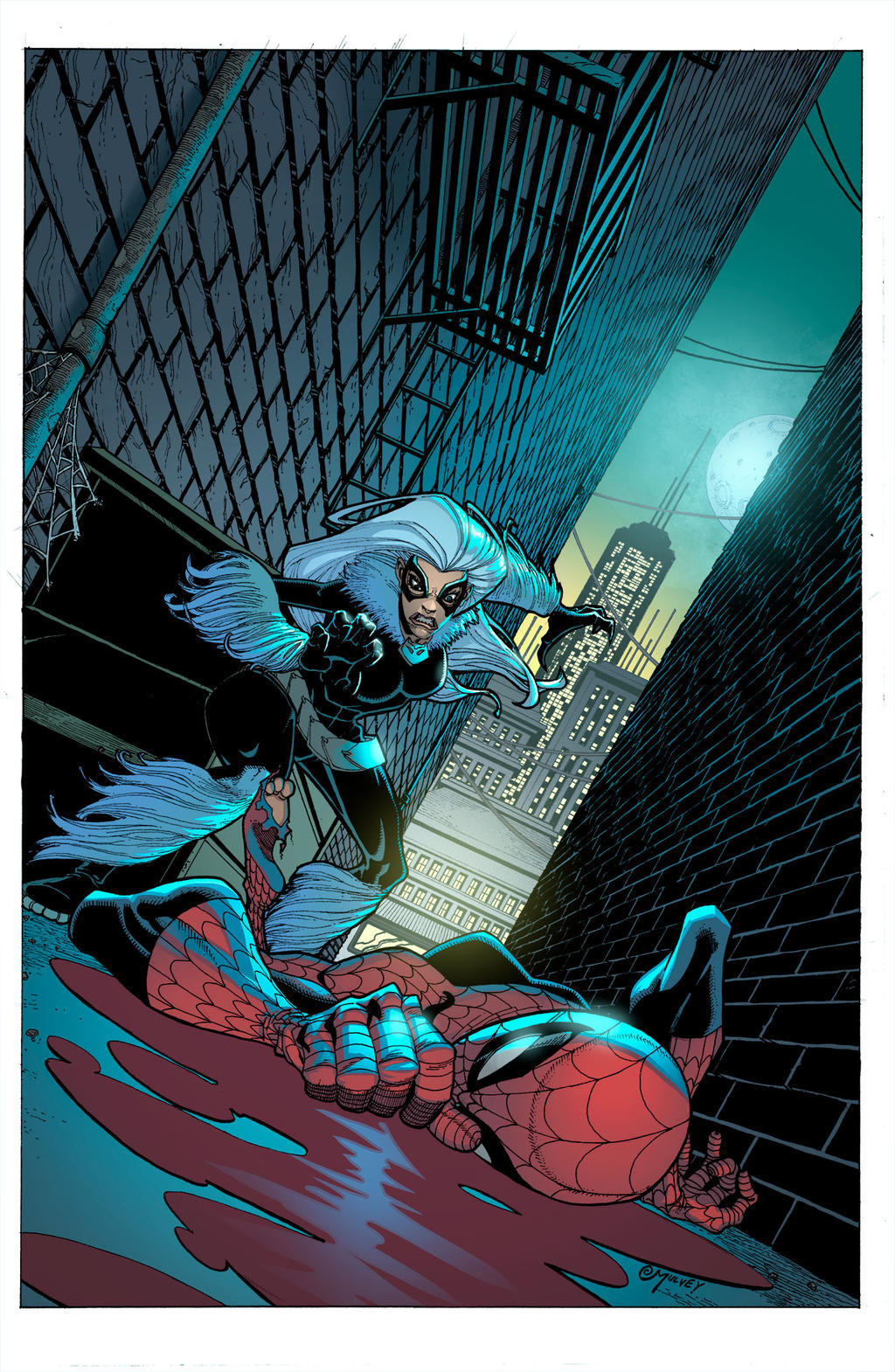 Aninimal Book: Spider-man / Black Cat pinup by Joe Mulvey by kmichaelrussell on DeviantArt