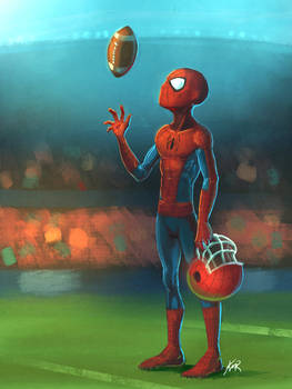 Spider-man on a football field
