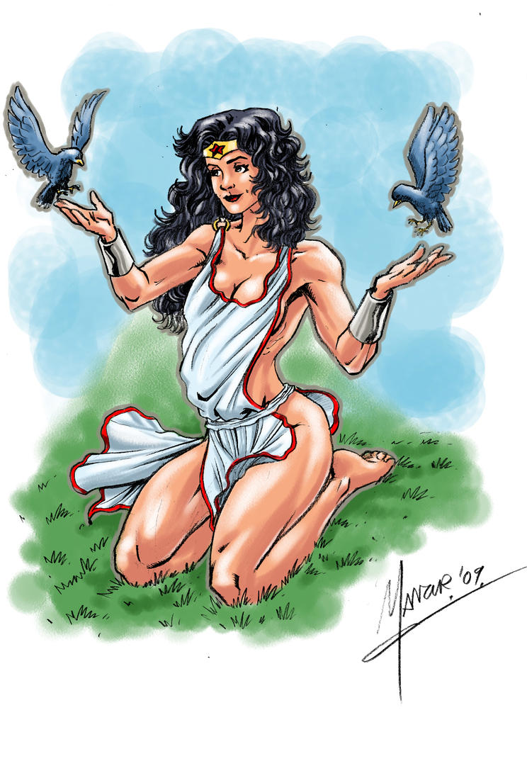 wonder woman with birds by manzur1138