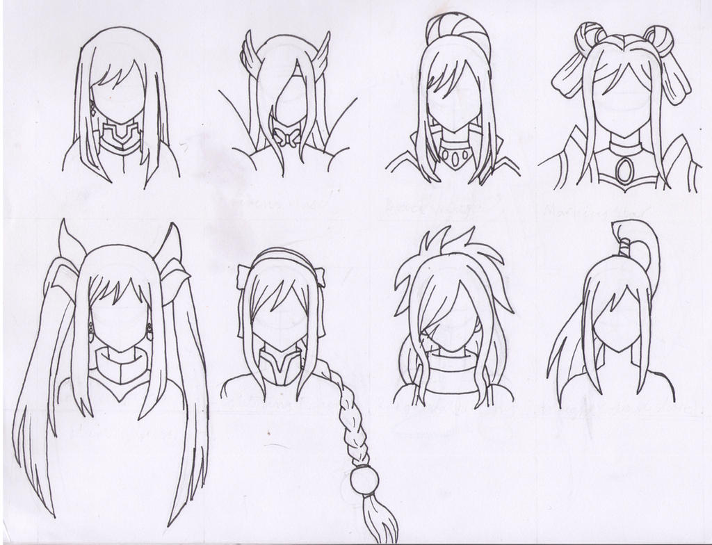 the many hairstyles of erza scarlet by purple-dragon57 on deviantart