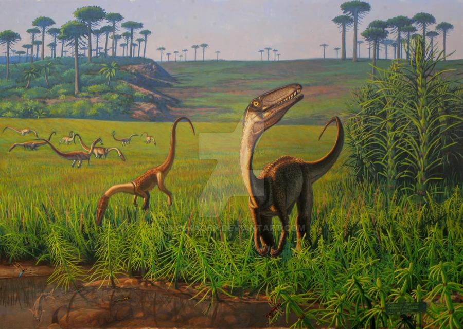Awesome Paleoart  Amanece_en_la_llanura_aluvial_by_bioimagen-d41zwpf