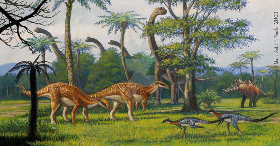 Awesome Paleoart  Jurassic_herbivores_by_bioimagen-daapoxu