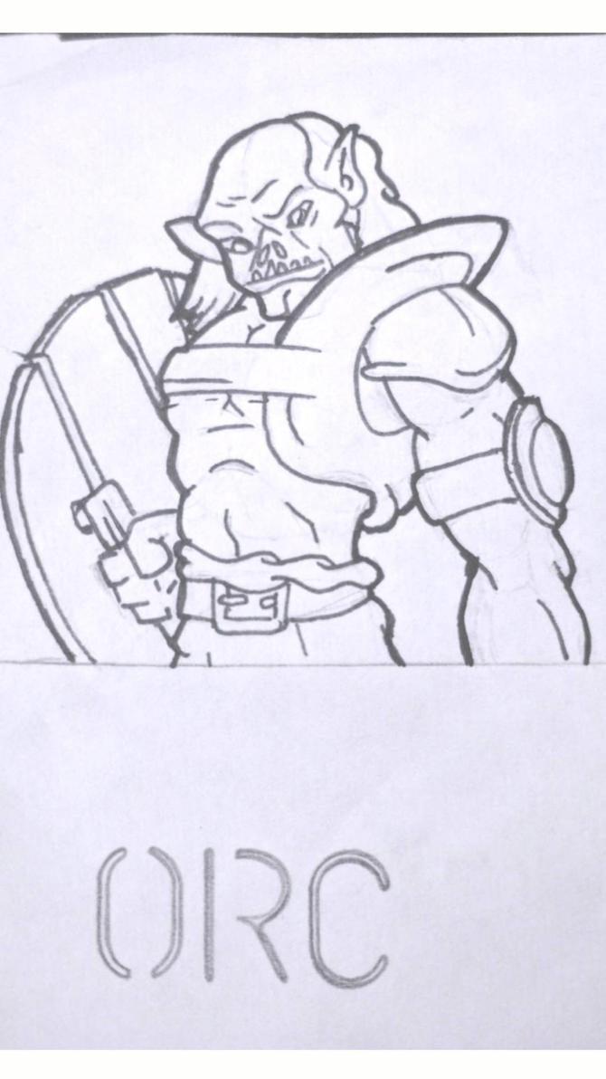 Traditionally Drawn Orc. (final linework) by DallinLemon