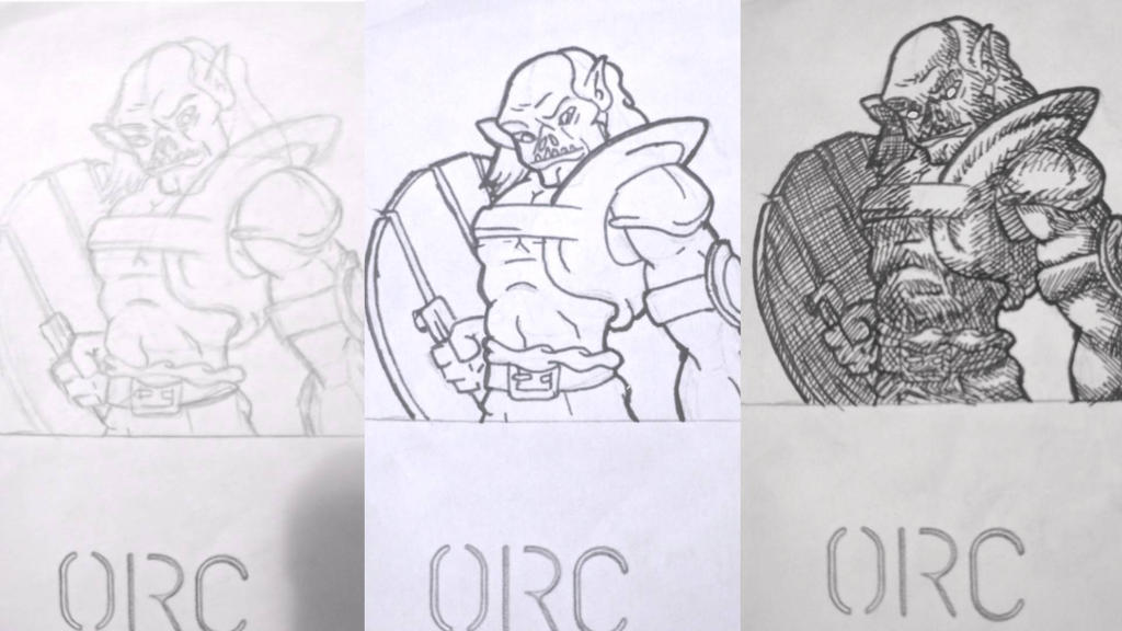 Traditionally Drawn Orc. Stage's. by DallinLemon
