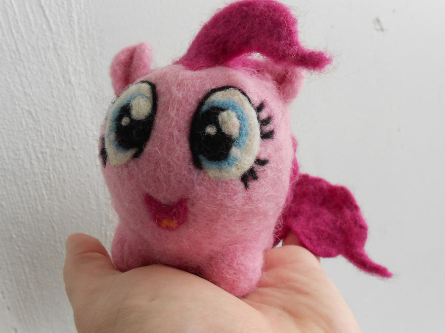 Needle Felted Pinkie Pie Chubby (Front) by MaijaFeja