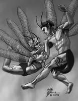 Faeries Wrestling by artbytravis