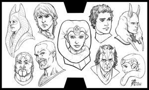 Star Wars Portrait Sketches by artbytravis