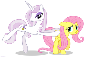 Fleur the posing pony and Fluttershy - PNG by Larsurus