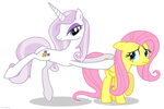 Fleur the posing pony and Fluttershy - PNG
