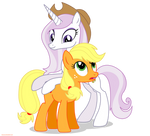 Fleur the posing pony and Applejack - PNG