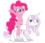 Fleur the posing pony and Pinkie Pie - PNG