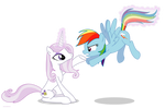 Fleur the posing pony and Rainbow Dash - PNG