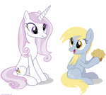 Fleur the posing pony and Derpy - PNG