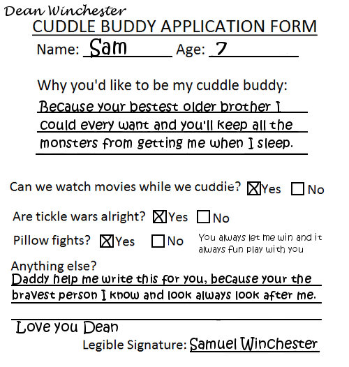 I Want To Cuddle With You Quotes: Sam Winchester Cuddle Buddy Form By TheQueenofLight On