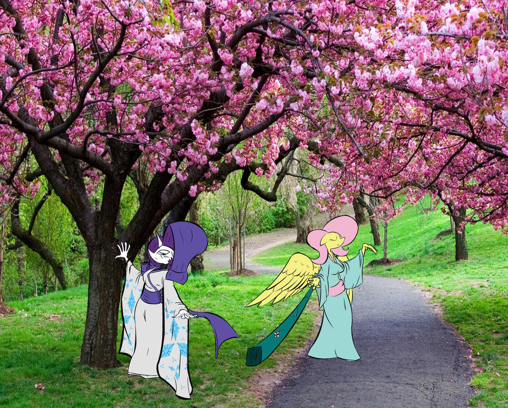 A stroll through the sakura trees by Star-Killer89