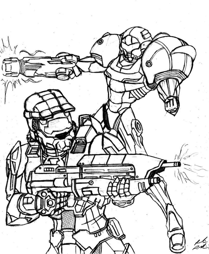 Samus Aran/Master Chief: Final Rough Draft by DoodleScout