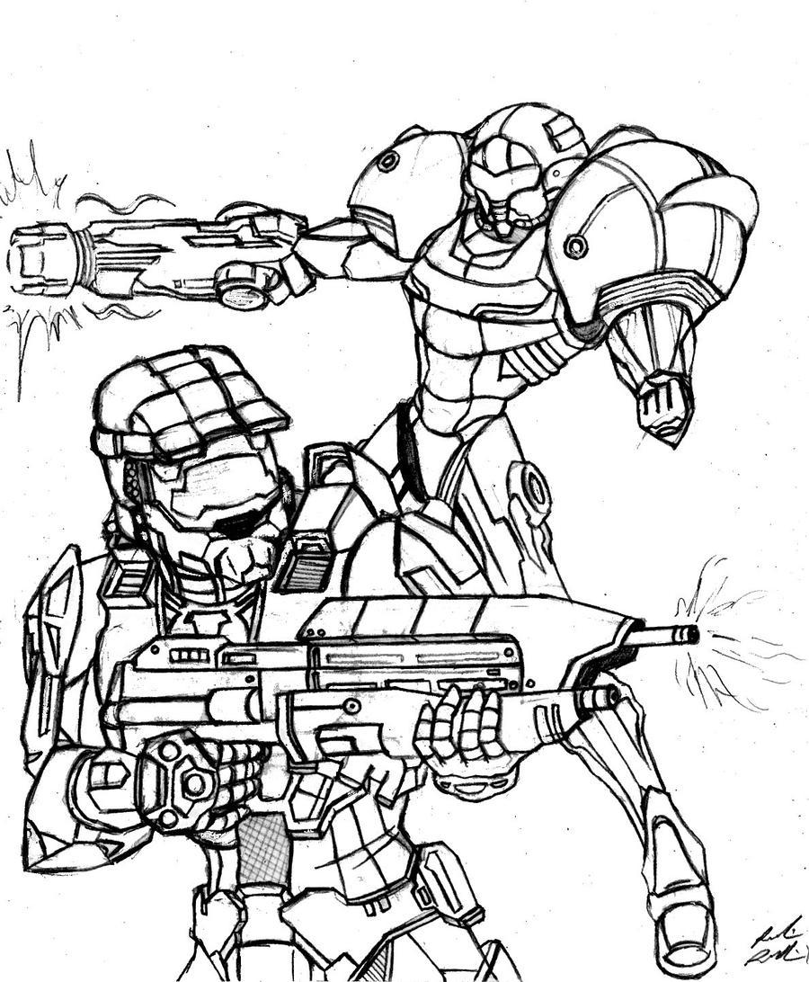 samus aran coloring pages - samus aran master chief final rough draft by doodlescout
