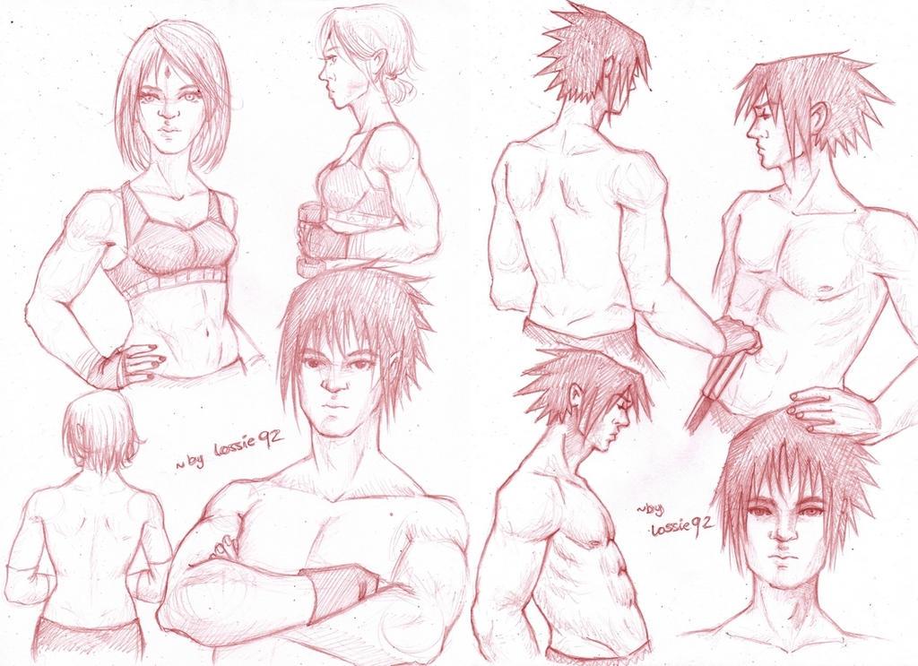 sasusaku: anatomy practice (sketch dump) by lossie92
