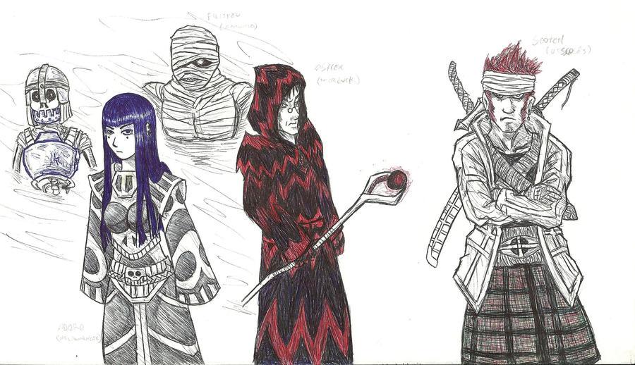 Necro warlock warrior trio by TemplarWiegraf