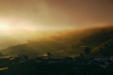 Sleepy village at dawn by toffeespin