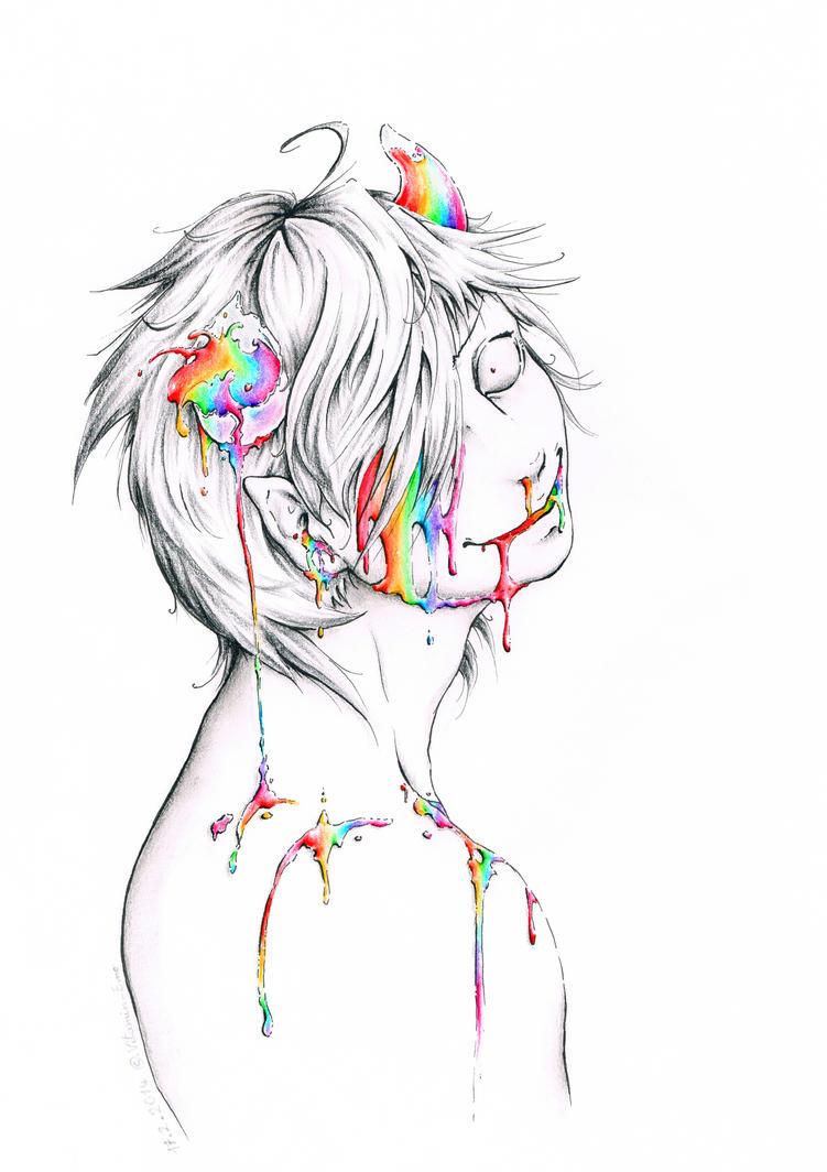 Skittles, taste the bloody rainbow by Vitamin-Emo