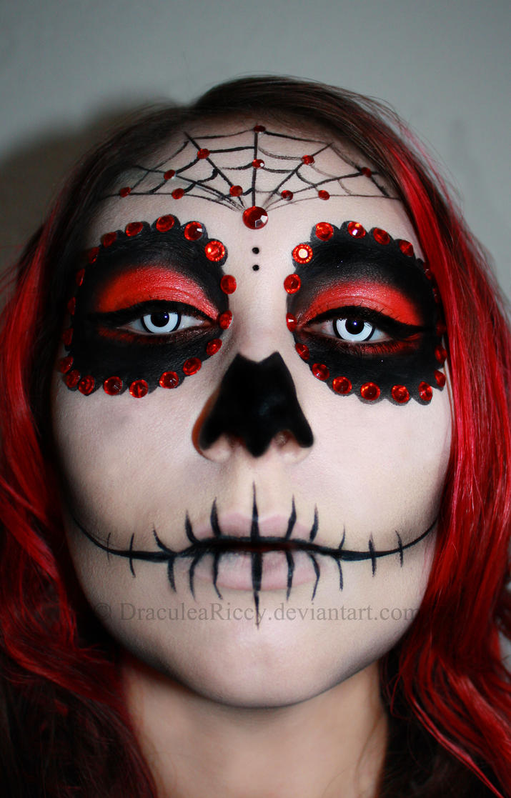 Red Sugar Skull by DraculeaRiccy