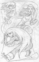 Rogue Psylocke and Magik by nctorres