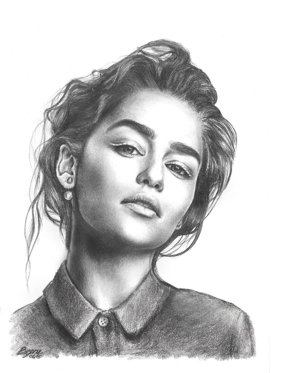 Emelia Clarke Pencil Portrait by xbooshbabyx on DeviantArt