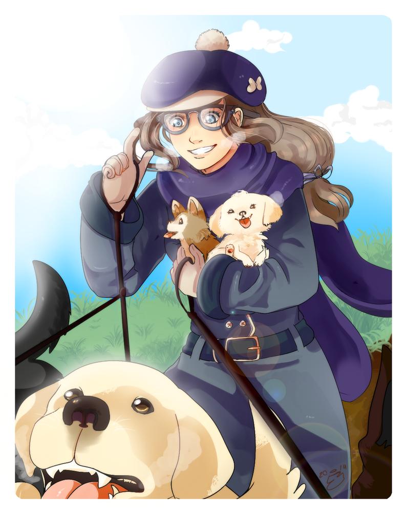 Elen with animals by W-Lanier