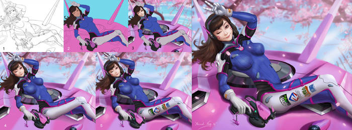 D.Va-Overwatch Painting process by ArnabNag