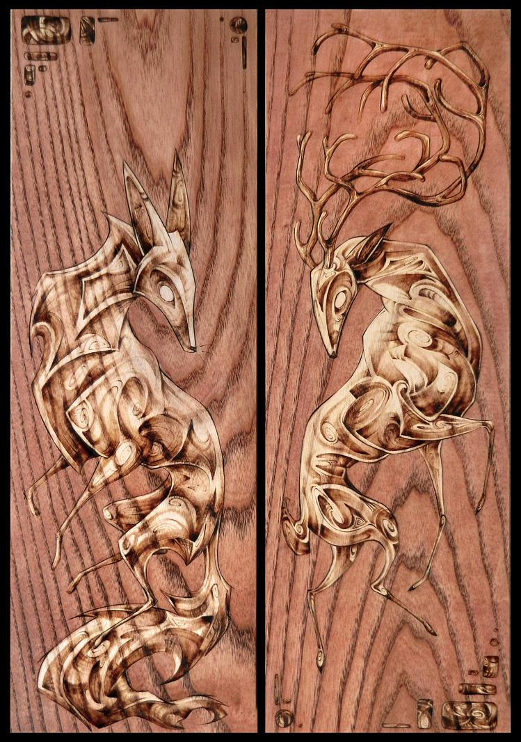 Deer and the Fox by Tsairi