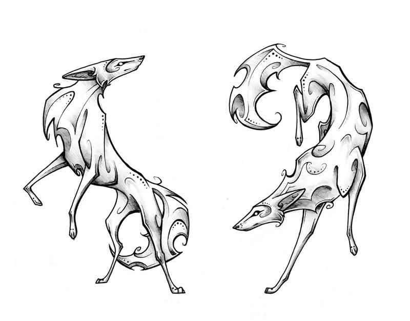 Lineart Wolf Tattoo : Coyote pair by tsairi on deviantart