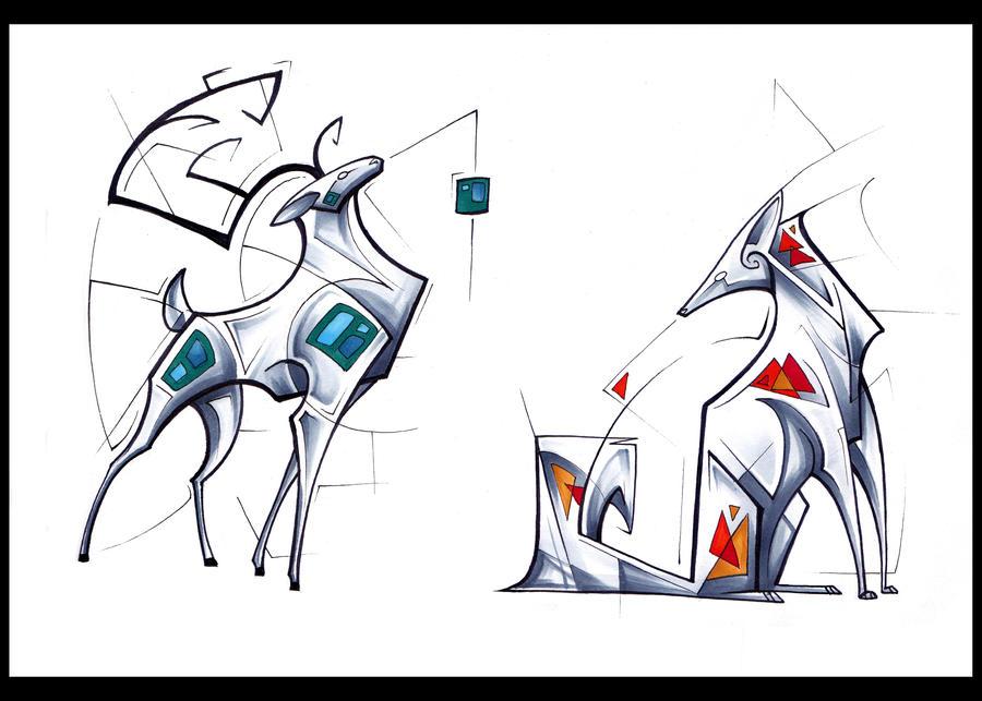Geometric Deer And Fox By Tsairi On DeviantArt